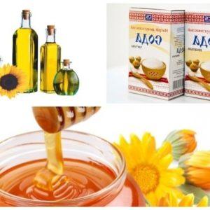 Мед, сода и подсолнечное масло