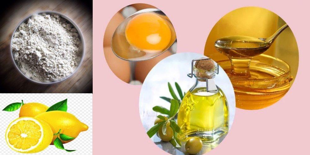 Маска для роста волос (мед, белая глина, репейное масло, желток, лимон)