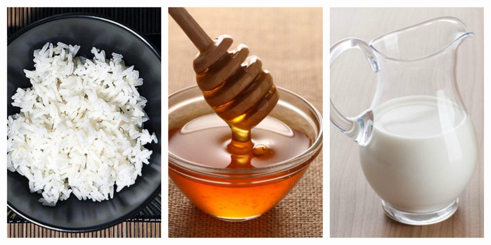 мед, молоко, рис