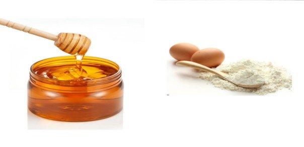 Маска против «гусиных лапок» (мед, белок, мука)