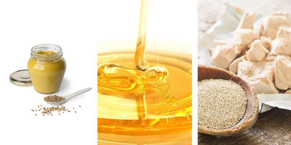 Народный рецепт активатора роста волос (мед, дрожжи, горчица)