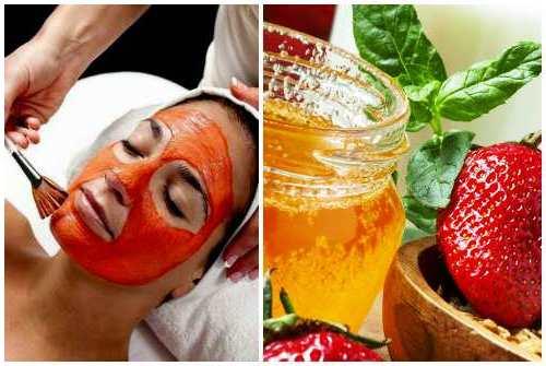 Отбеливающая маска для лица (мед, лимон, клубника)