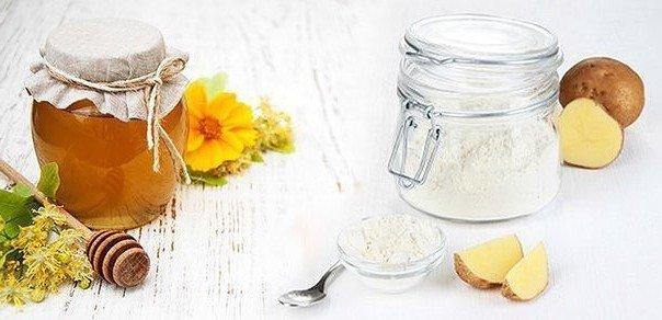 Отбеливающая маска для кожи лица (мед, крахмал, соль)