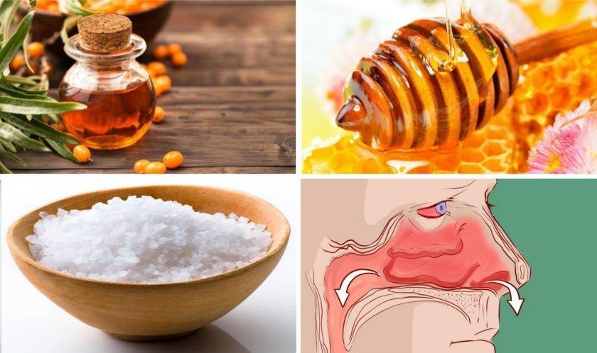 Средство против заложенности носа (мед, соль, масла)