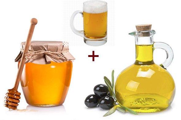 Питательная маска для лица (мед.оливковое масло.пиво)