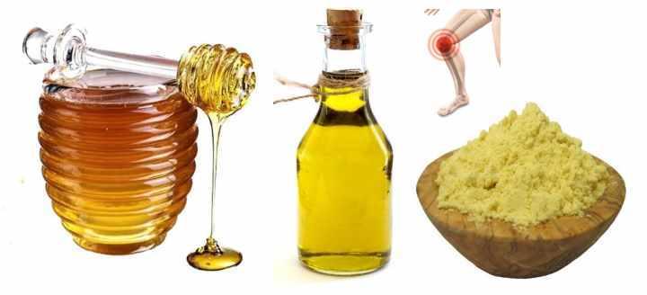 Средство от боли в суставах (мед.соль, белок, кунжутное масло, горчичный порошок)