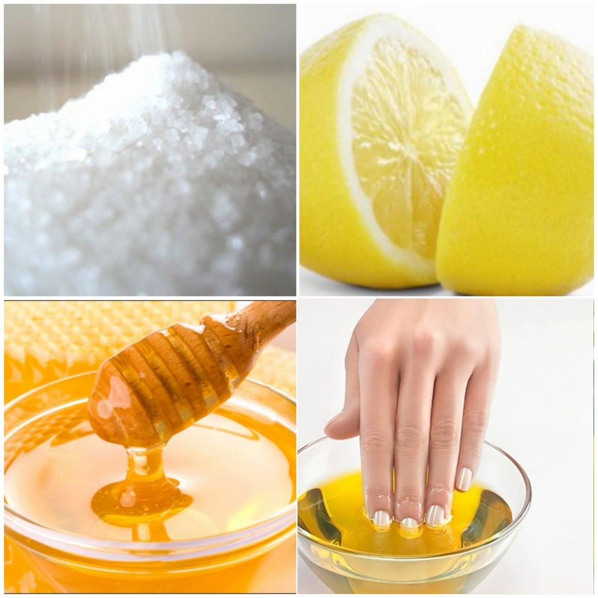Ванночка для рук и ногтей (мед, лимон, соль)