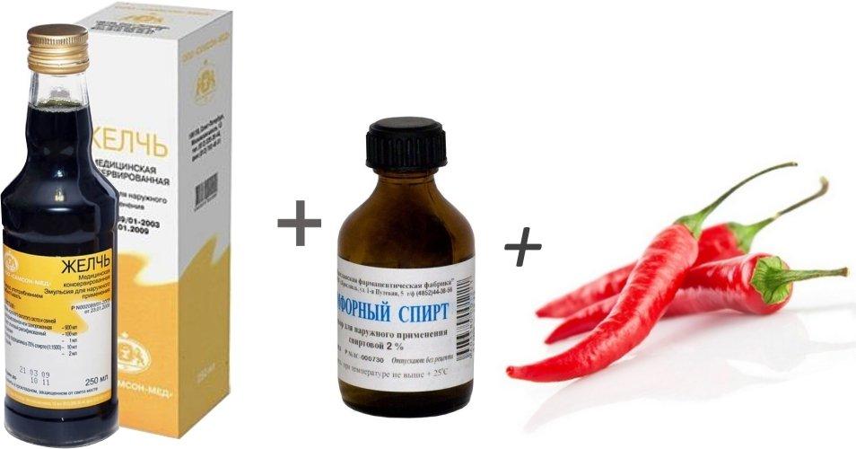 Настойка для снятия боли в суставах (камфорный спирт и масло, перец, желчь медицинская)