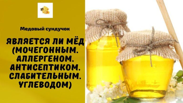 Является ли мёд (Мочегонным. Аллергеном. Антисептиком. Слабительным. Углеводом)